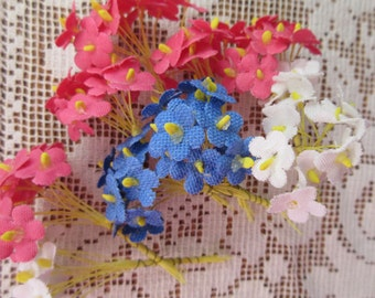 104 Forget Me Not Nots Vintage Fabric Millinery Flowers Mixed Colors Germany Group C