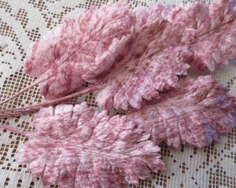 Vintage Millinery Leaves Germany 1950s Pink Striped Velvet Rose Leaves  VL 128 PMX