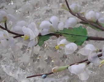 Vintage Millinery Flowers Cherry Blossom Spray White 1960s