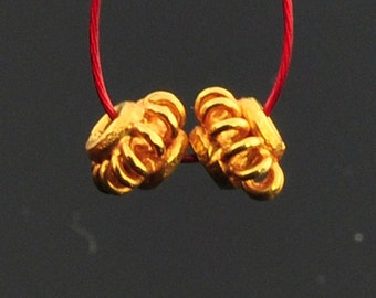 4.2mm 18k Solid Yellow Gold Fancy Lantern Spacer Findings