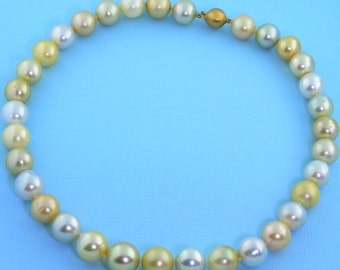 "Multi Color South Sea Round Pearl Necklace 18"" 14K Gold Clasp"
