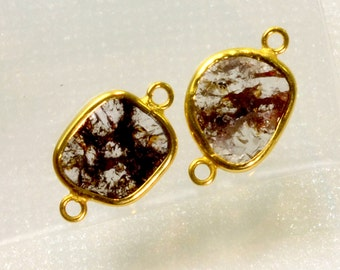 2.6CT 18K Solid Yellow Gold Rose Cut Rustic Diamond Slices Bezel Connectors PAIR