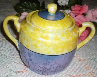 Vintage Blue and Gold Lustreware Sugar Bowl