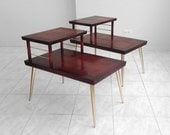 30% SALE 2 mid century modern LANE cherry wood & brass leg end TABLES