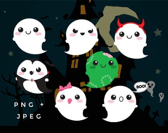 Cute ghost clip art - kawaii ghost clipart Halloween clip art haunted spooky digital designs commercial use zombie vampire ghosts