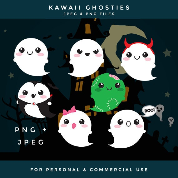 Cute ghost clip art kawaii ghost clipart Halloween clip art