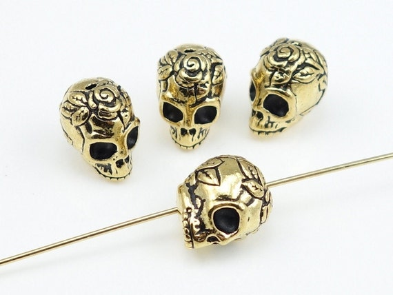 Sugar Skull Beads - Antique Gold Beads - TierraCast ROSE SKULL Beads - Day of the Dead - Dia de los Muertos  (P932)