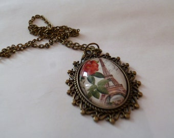 Steampunk Inspired Gothic Rose Eiffel Tower Necklace