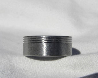 Titanium Ring Wedding Band Three Offset Pinstripe Groove