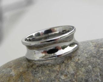 Titanium Ring, Concave Profile Polished Finish Wedding Band