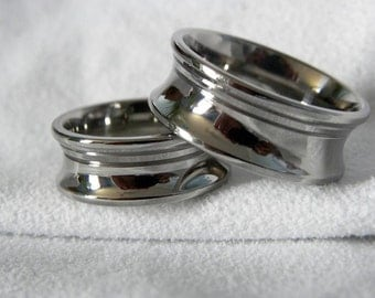 Titanium Ring SET or Concave Cut Two Offset Grooves Wedding Bands