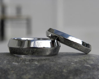 Ring SET or Bands, Knife Edge Rings, Polished Finish, Wedding Bands