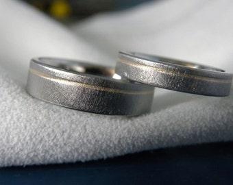Wedding Bands Titanium Yellow Gold Pinstripe Inlay Rings SET