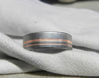 Titanium Ring or Wedding Band with two Copper Inlays, Unique Style, Frosted