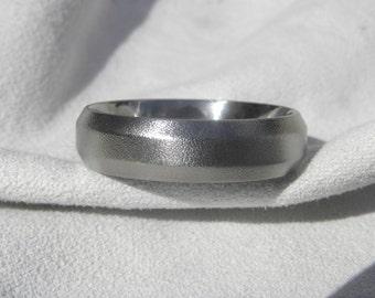 Titanium Ring with Beveled Edge Burnished Finish Wedding Band