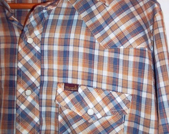 Brown Plaid Wrangler 80s Vintage Mens Western Shirt Pearl Snaps  L