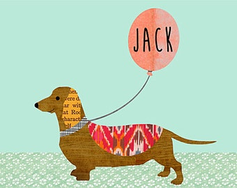NEW A3 SIZE: Cute Dog with Name on Balloon Poster Print