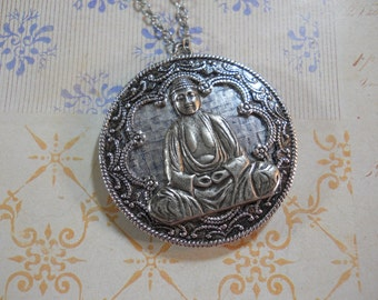 Large Silver Buddha Locket on Silver Chain Hand Made Locket Meditation OM Aum Yoga Jewelry Statement Necklace Spiritual Locket