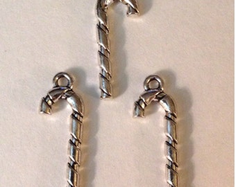 10 Candy Cane Holiday Christmas Charms - Antique Silver - SC125#GL