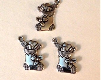 10 Stocking Charms with Poinsettia Holiday Christmas - Antique Silver - SC132#GE