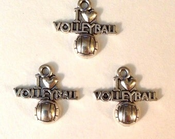 10 I Love Volleyball - Antique Silver - SC122#GY