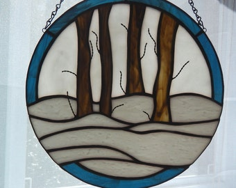 Winter Woods Stained Glass Suncatcher