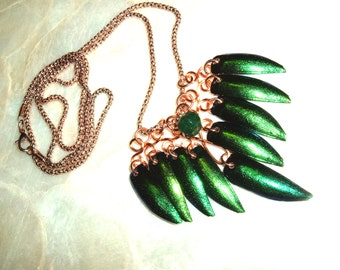 Elytra Beetle Wings, Natural Emerald, Copper Wire, Original, Artisan, Handcrafted, Bohemian, Gypsy Necklace