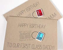 Handmade Happy Birthday Card. Recycled Card. First Class Stamp. Postage Stamp. First Class Dad. First Class Mum. First Class. Red. Blue.