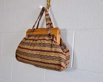 1940s purse / Wooden You Just Love Me Big Vintage 40's Purse