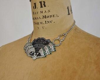 50s necklace / Emerald City Vintage 1950's Rhinestone Necklace