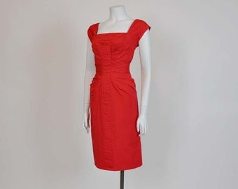 1950s dress / Bombshell Vintage 50's Ruched Wiggle Dress