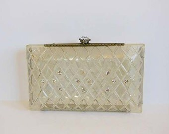 1950s purse / Vintage 50's Rhinestone Carved Lucite Clutch Purse