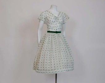 50s dress / Sheer Genius Vintage 1950s Polka Dot Print Dress