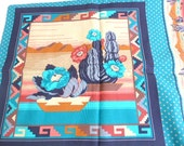 Cranston Print Works  Southwestern Print Panels, Pillow Top Quilt Block Wall Hanging Pottery Cactus Turquoise Tans Rust Fabric