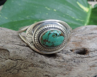 Sterling Silver Cuff Bracelet, Turquoise Southwestern Style