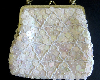 Vintage Heavily Beaded Purse Handbag with Iridescent Sequins and White Beads / Sparkling Bridal Bag