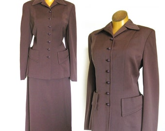 1940s Vintage Wool Suit Swansdown New York / Tailored Jacket and Skirt / Vintage Office Clothes / 2-Piece Suit
