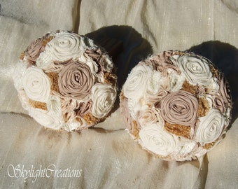 Cotton Cream and Brown Wedding Bridesmaid Bouquet with Burlap