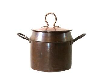 1900s Copper & Tin Stock Pot, Handmade, Antique Soup Pan