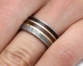 Titanium Wedding Band for Him or Her w Petrified Wood, Meteorite, And Dinosaur Bone Inlays, Handmade Ring With 14k Yellow Gold Pinstripes