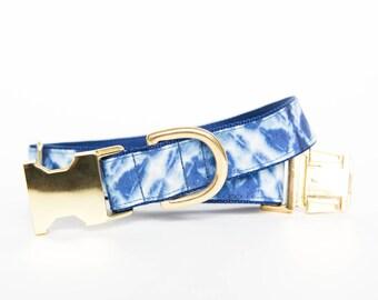 Geometric Indigo Batik, Shibori-Inspired, Gold Hardware