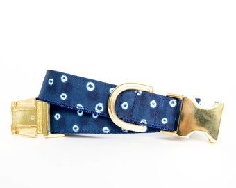 Polka Dot Indigo Batik, Shibori-Inspired, Gold Hardware