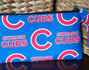 Chicago Cubs MLB Blue Red Inside Wristlet Zipper Pouch Clutch