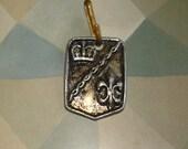 vintage medieval  crown and fleur de lis pendant