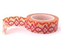 Ikat Washi Tape - 15mm x 10 metres - Pink Washi Tape Roll - Orange Masking Tape - Pretty Masking Tape - Washi Tape Australia