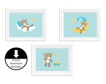 Instant Download Printable Nursery Children Wall Art Sleepy Bear Aqua Blue Set of 3