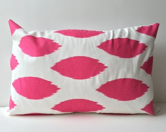 12x18 pink ikat on white