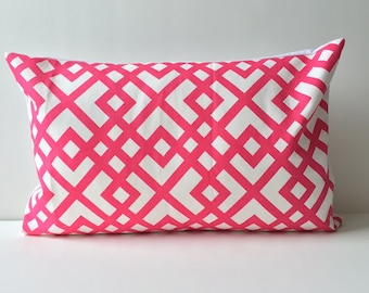 12x18 pink lattice on white pillow case