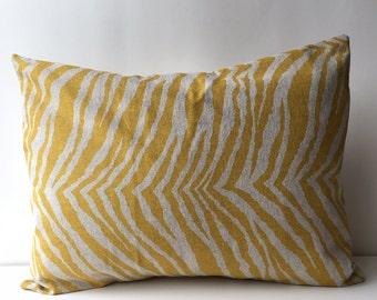 14x18 yellow on natural, zebra pattern