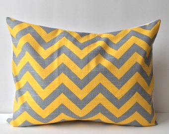 14x18 yellow and grey, chevron pattern